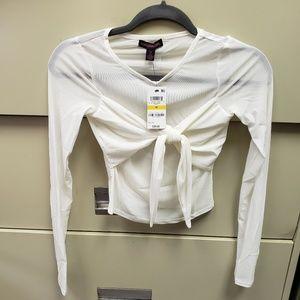 Juniors' Sheer Tie-Front Crop Top
